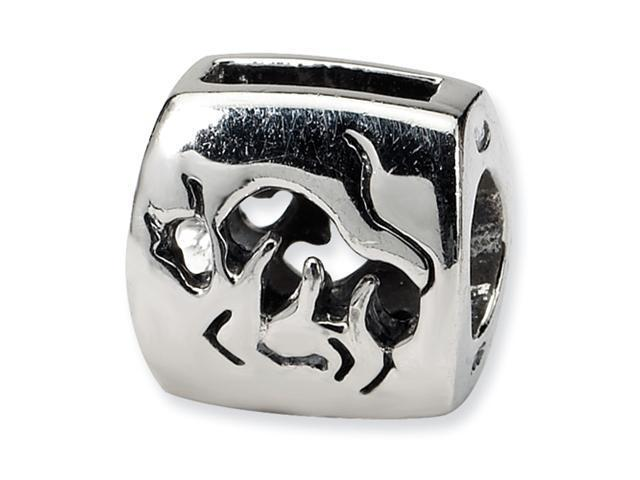 Sterling Silver SimStars Reflections Taurus Zodiac Antiqued Bead