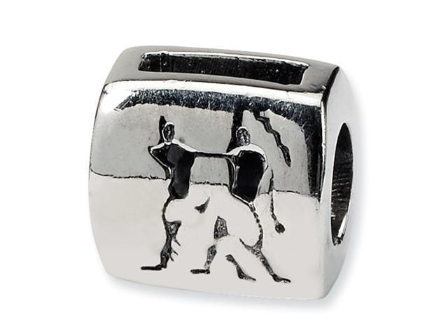 Sterling Silver SimStars Reflections Gemini Zodiac Antiqued Bead