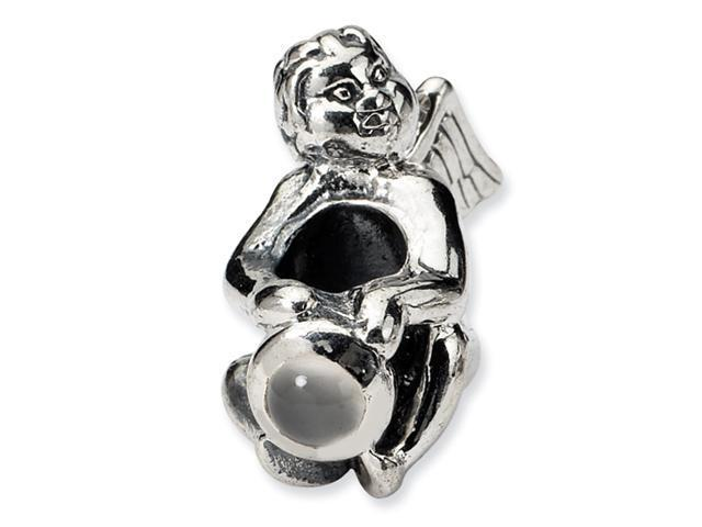Sterling Silver SimStars Reflections June CZ Antiqued Bead