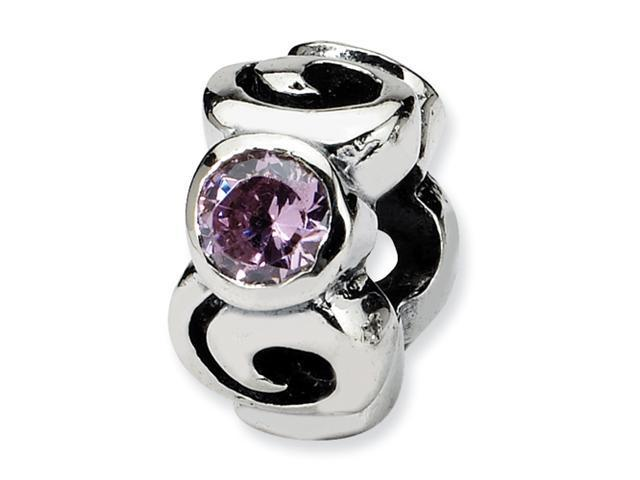 Sterling Silver SimStars Reflections Pink CZ Bead
