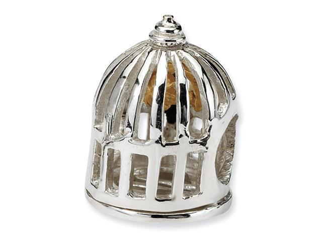 Sterling Silver & 14k SimStars Reflections Bird Cage Bead
