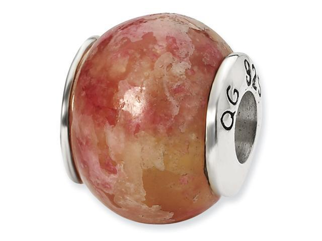 Sterling Silver SimStars Reflections Pink Serpentine Stone Bead