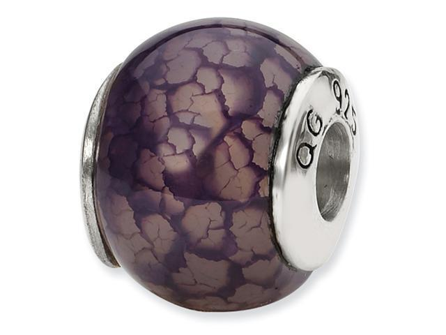 Sterling Silver SimStars Reflections Purple Cracked Agate Stone Bead
