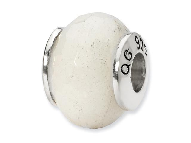 Sterling Silver SimStars Reflections White Quartz Stone Bead