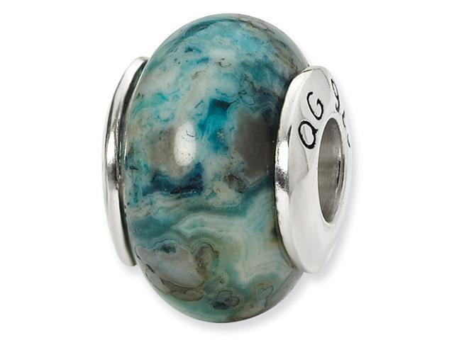 Sterling Silver SimStars Reflections Blue Crazy Lace Agate Stone Bead