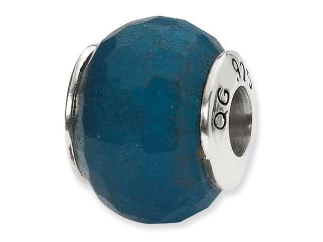 Sterling Silver SimStars Reflections Medium Blue Quartz Stone Bead