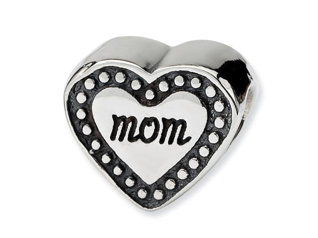Sterling Silver SimStars Reflections Mom Heart Bead