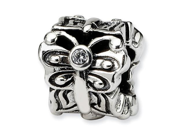 Sterling Silver SimStars Reflections Butterfly w/CZ Bali Bead