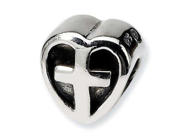 Sterling Silver SimStars Reflections Kids Heart w/CroSterling Silver Bead