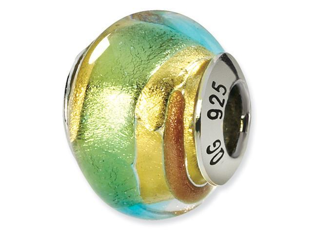 Sterling Silver Yellow/Gold/Green Italian Murano Bead