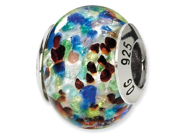 Sterling Silver Silver/Blue/Red Italian Murano Bead