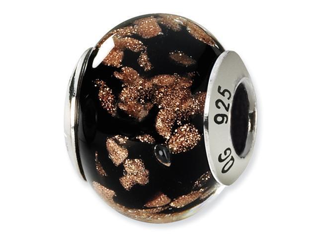 Sterling Silver Black/Gold Italian Murano Bead