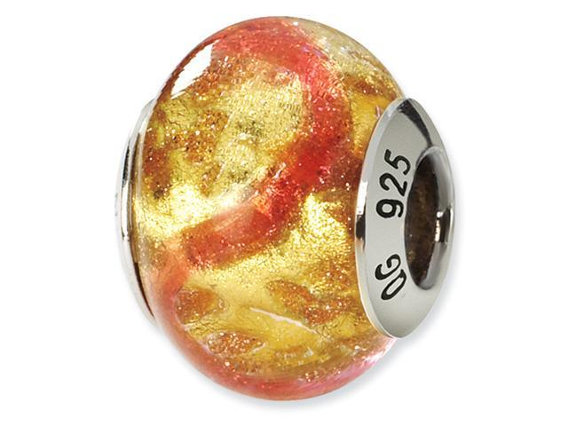 Sterling Silver Yellow/Pink/Gold Italian Murano Bead