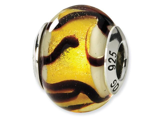 Sterling Silver Yellow/Black Italian Murano Bead