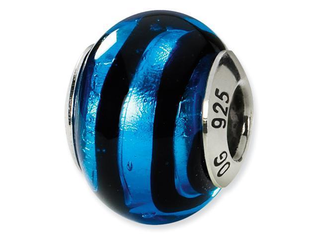 Sterling Silver Blue/Black Italian Murano Bead