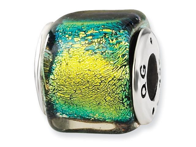 Sterling Silver Yellow Dichroic GlaSterling Silver Square Bead