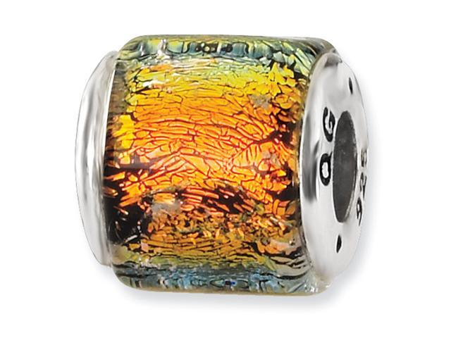 Sterling Silver Orange Dichroic GlaSterling Silver Bead