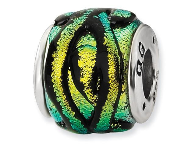 Sterling Silver Yellow Dichroic GlaSterling Silver Bead