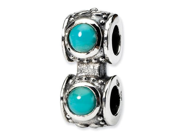 Sterling Silver SimStars Reflections Turquoise CZ Connector Bead