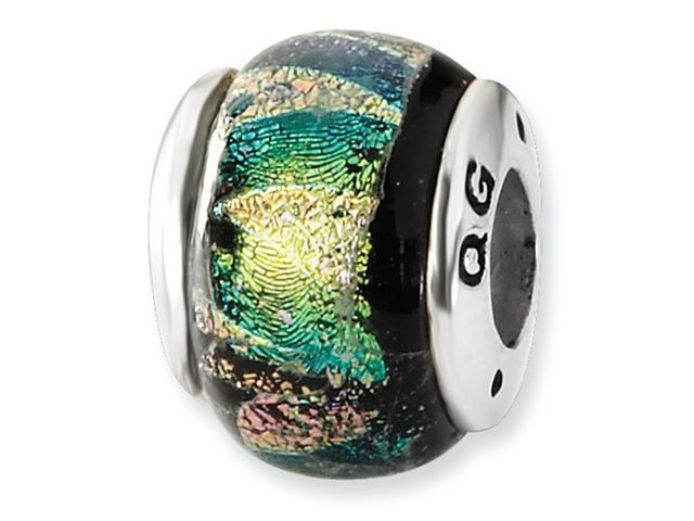 Sterling Silver Green Dichroic GlaSterling Silver Bead