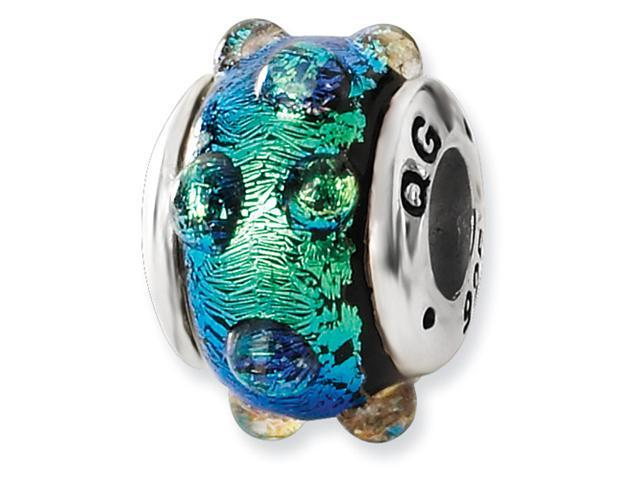 Sterling Silver Blue Dichroic GlaSterling Silver Bead