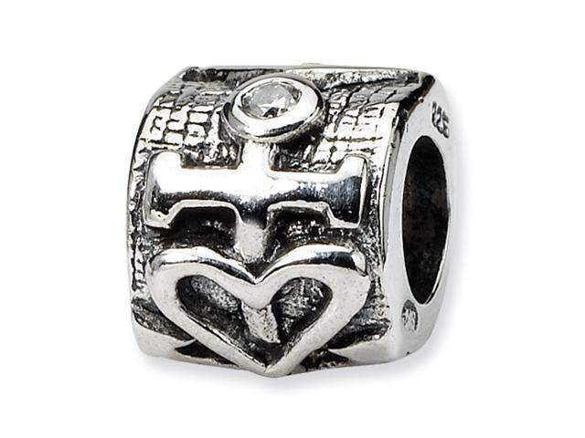 Sterling Silver SimStars Reflections Heart and Anchor CZ Bead