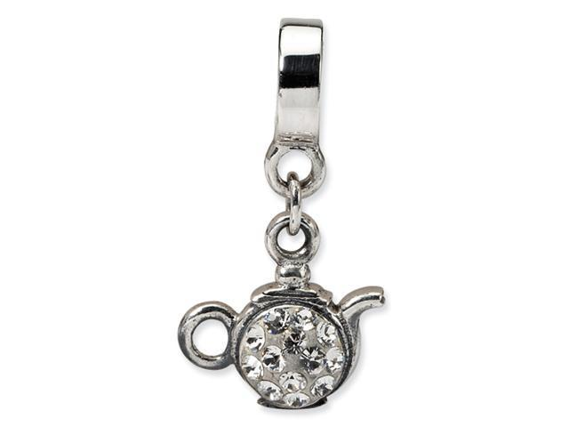 Sterling Silver SimStars Reflections Clear Crystal Teapot Dangle Bead