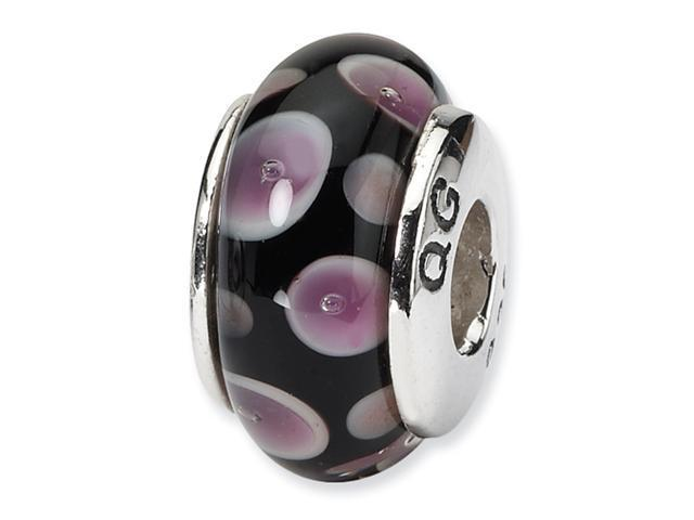 Sterling Silver SimStars Reflections Purple/Black Hand-blown GlaSterling Silver Bead