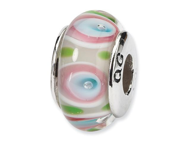 Sterling Silver SimStars Reflections Multi Hand-blown GlaSterling Silver Bead