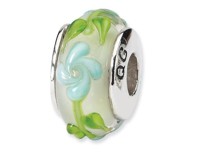 Sterling Silver SimStars Reflections Green/Blue Floral Hand-blown GlaSterling Silver Bead