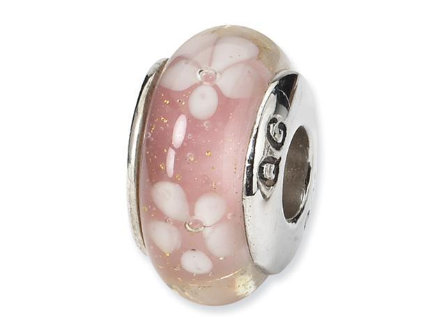 Sterling Silver SimStars Reflections Pink/White Floral Hand-blown GlaSterling Silver Bead