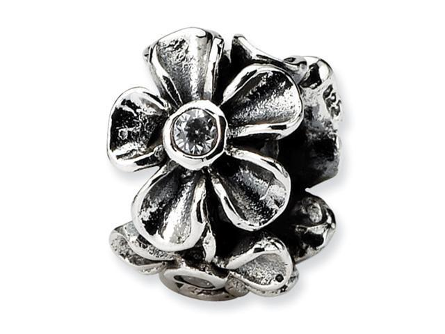 Sterling Silver SimStars Reflections CZ Floral Bead