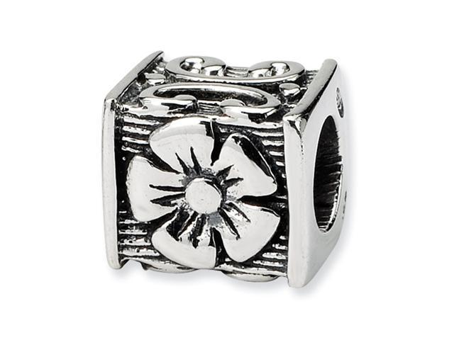 Sterling Silver SimStars Reflections Floral Cube Bead