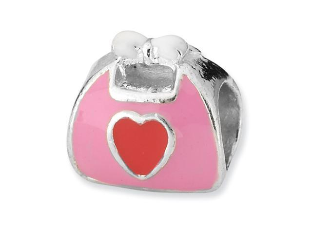Sterling Silver SimStars Reflections Pink/Red Enameled Purse Bead