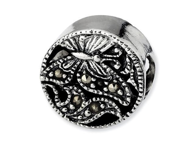Sterling Silver SimStars Reflections Marcasite Butterfly Bead