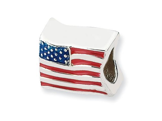 Sterling Silver SimStars Reflections USA Flag Bead