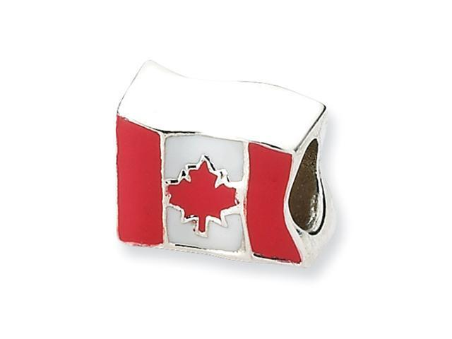 Sterling Silver SimStars Reflections Canada Flag Bead
