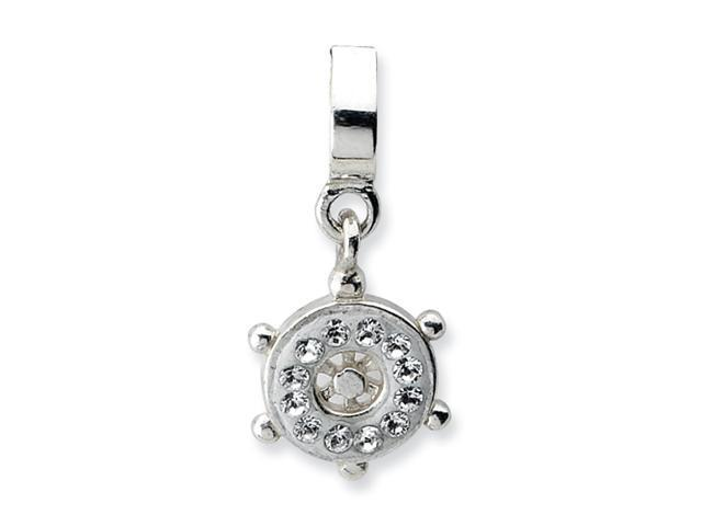Sterling Silver SimStars Reflections Clear Swarovski Ships Wheel Dangle Bead