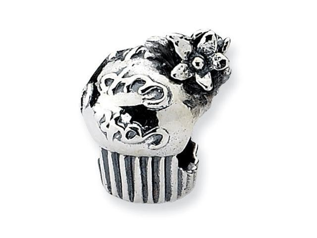Sterling Silver Refelections Cupcake with Flowers Bead