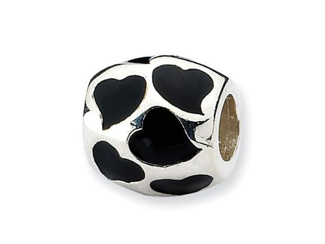 Sterling Silver Refelections Black Enameled Hearts Bead