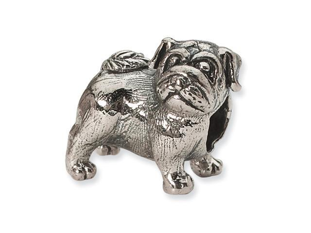 Sterling Silver SimStars Reflections Pug Bead