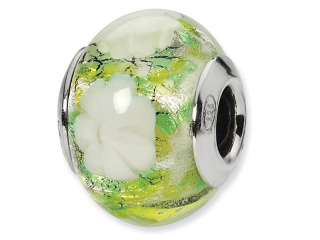 Sterling Silver Green/White Flower Italian Murano Bead