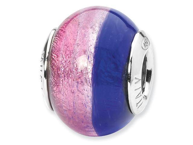 Sterling Silver Pink/Blue Italian Murano Bead