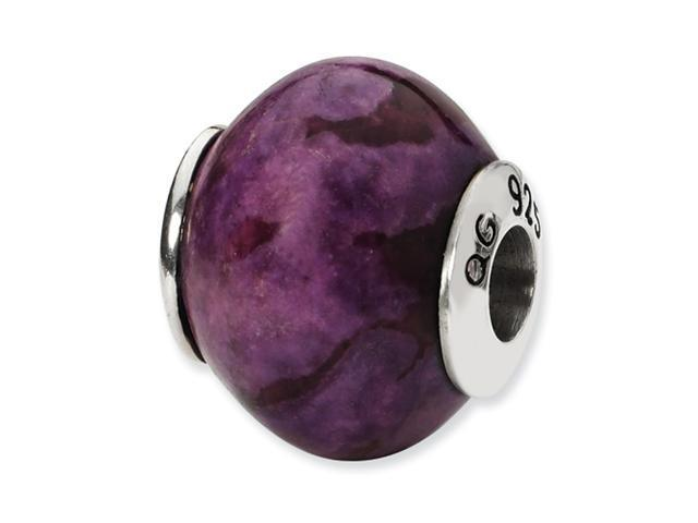 Sterling Silver SimStars Reflections Purple Magnasite Stone Bead