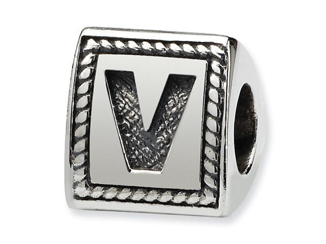 Sterling Silver SimStars Reflections Letter V Triangle Block Bead