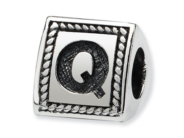 Sterling Silver SimStars Reflections Letter Q Triangle Block Bead