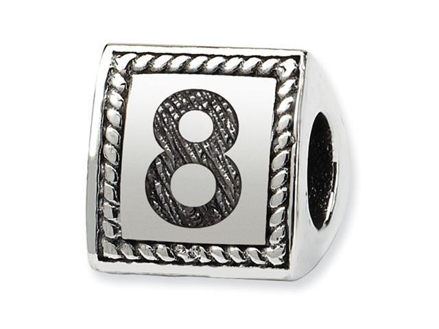 Sterling Silver SimStars Reflections Number 8 Triangle Block Bead