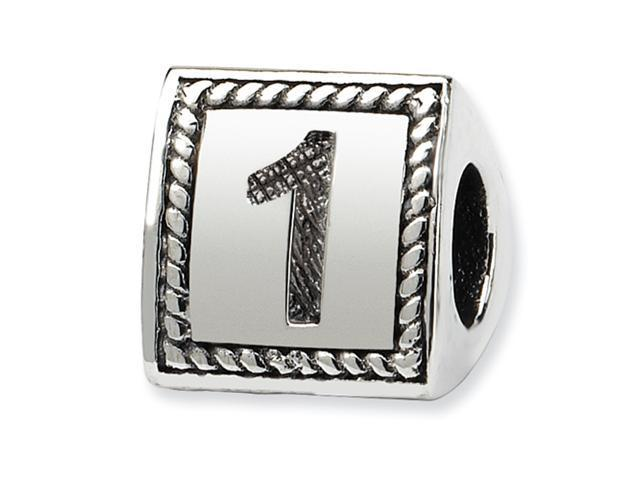 Sterling Silver SimStars Reflections Number 1 Triangle Block Bead