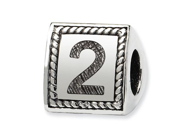 Sterling Silver SimStars Reflections Number 2 Triangle Block Bead