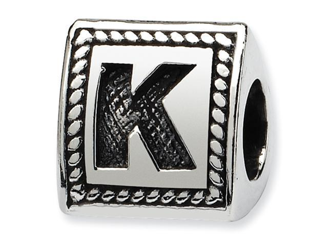 Sterling Silver SimStars Reflections Letter K Triangle Block Bead
